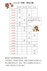横代児童館★わんぱく体操教室参加日程